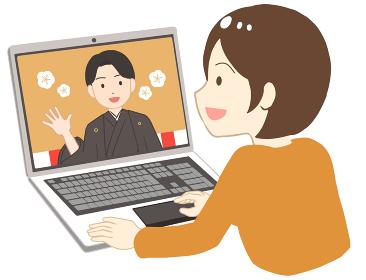 オンライン成人式を見る 袴 女性(線無し)
