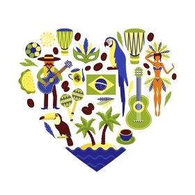 Brazil decorative set. Brazil symbols decorative icons set in heart shape with football carnival coffee parrot vector illustration