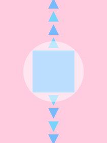 white circle, blue square and triangles on pink ba