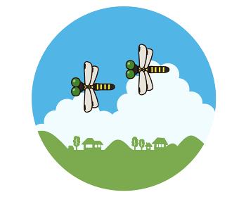 田舎町の空を飛ぶオニヤンマ