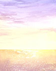 夕陽 空と海 水彩イラスト