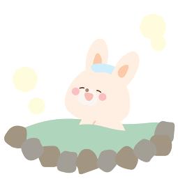 温泉に入るうさぎのイラスト
