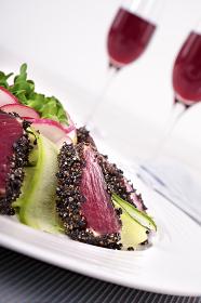 Seared tuna closeup,
