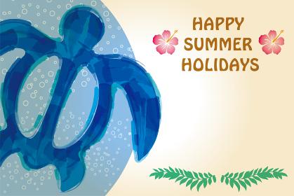 暑中見舞いテンプレート夏のイメージの海亀ホヌのイラスト ホワイトスペース