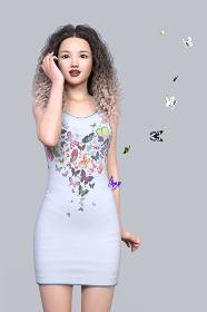 パーマヘアの女性が白いタンクトップワンピースの蝶々柄が実物の蝶に変化して飛び立ってゆく