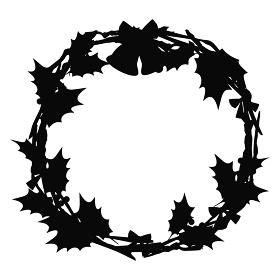 クリスマスリースのイラスト 黒 シルエット