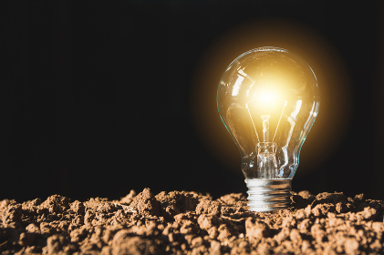 Light bulbs with glowing one. Idea and creativity concept with light bulbs.