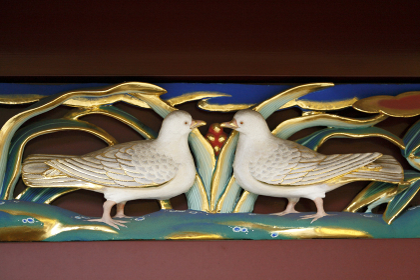 上野東照宮 透塀 鳩の彫刻