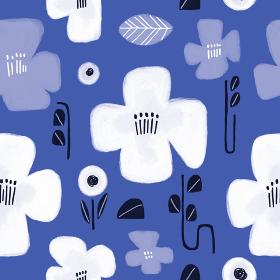 青と白の花畑/手描き/シームレスパターン