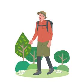 ハイキングをする中高年の男性のイラスト