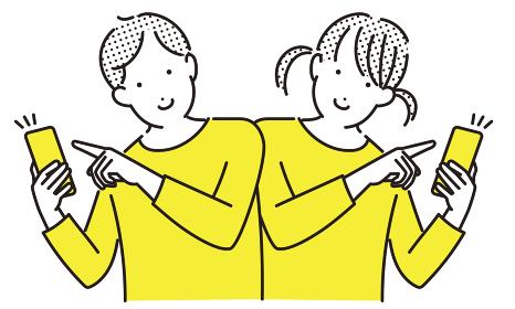 シンプル イラスト キッズスマホを持って笑顔の子供達