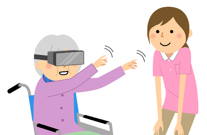 VRを楽しむ高齢女性