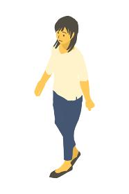 アイソメトリック図法で、歩く女性のベクターイラスト