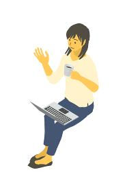 アイソメトリック図法で、コーヒー片手にノートパソコンを操作する女性のベクターイラスト
