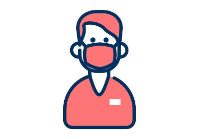 マスクをした男性の医療従事者のシンプルなデザインのイラスト
