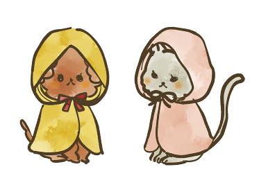 レインコートを着た犬と猫 水彩