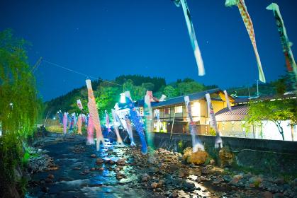 大分長湯温泉夜の鯉のぼり