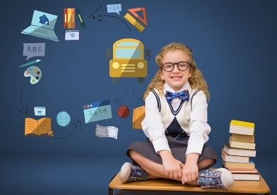 Young girl with books and education graphic drawings