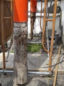 神社の木製鳥居の交換工事