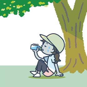 運動中、木陰で水分補給をする女性のイラスト