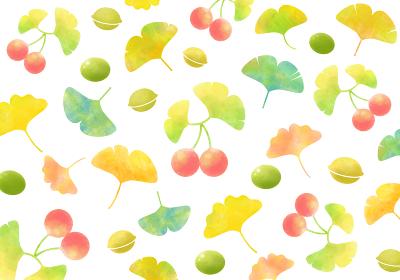 秋、イチョウの葉とギンナン 水彩風