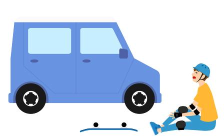 スケートボードのトラブル、事故、車との接触事故を起こした男の子