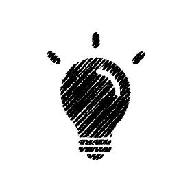 チョークで描いたような図形/アイコン(電球・ひらめき・アイデア)
