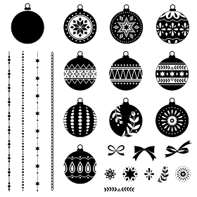 クリスマスオーナメント、デコレーション素材セット