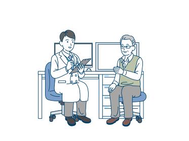 年配の男性と医者 カウンセリング 診察 シニア 高齢者 患者 イラスト素材