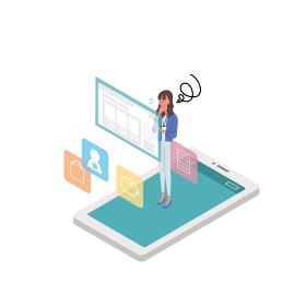 スマートフォンを操作する女性 コンセプト イラスト アイソメトリック