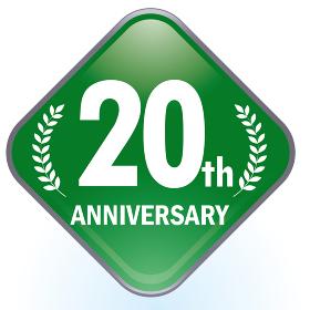 光沢感立体感のあるアニバーサリーのスクエアアイコングレー 20周年ボタン Anniversary i