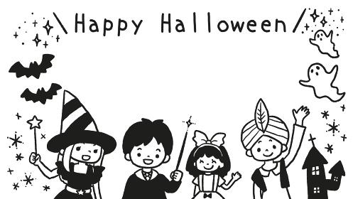 ハロウィンの仮装をした子どものイラストフレーム 線画