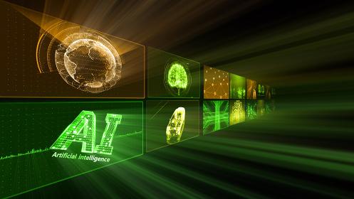 デジタル ネットワーク テクノロジー AI 人工知能 データ 通信 システム 情報 3D イラスト
