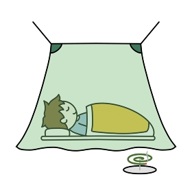 蚊帳で寝る
