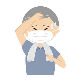 マスクをつけた熱中症のシニア男性のイラスト (上半身)