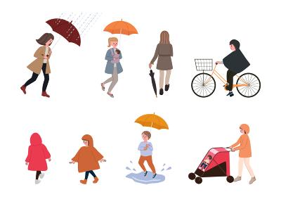 雨の日の街の人々のイラスト