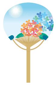 暑中見舞い 団扇に描かれた夏のイメージの紫陽花のイラスト