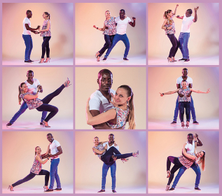 The collage from images of young couple dances social Caribbean Salsa