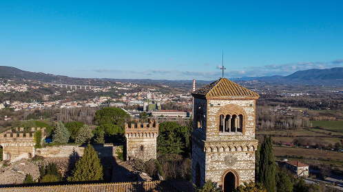 aerial photograph of the tower of the castle of San Girolamo in