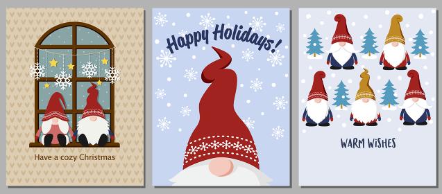かわいいクリスマスの小人のグリーティングカードセット