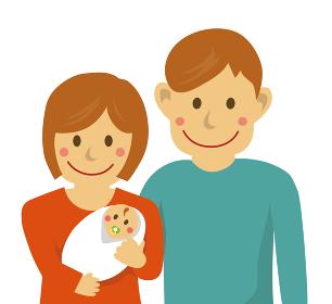 人物イラスト / 幸せな家族・赤ちゃん 出産