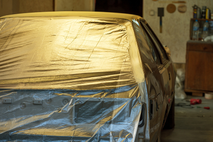 Preparing the car and car bumper for painting on body shop., Dragoman, Sofia Province, Bulgaria