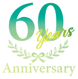 水彩画 水彩タッチ アニバーサリーのロゴ 60周年 月桂樹・月桂冠 エンブレム グラフィック素材