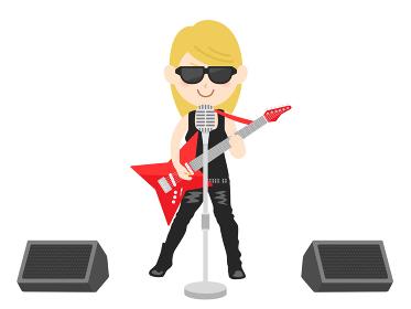 女性ロックミュージシャンのコンサートのイラスト