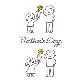 父の日・父親に花をプレゼントする子供のイラストと筆記体ロゴ