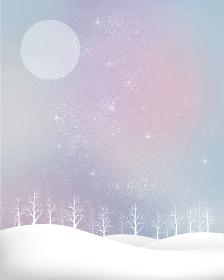 冬の景色:水彩 冬 景色 木 木々 雪 丘 雪山 林 森 星 夜空 キラキラ 月