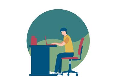 パソコン作業をする半袖シャツ姿の男性 人物フラットイラスト