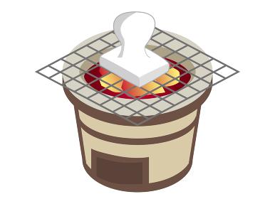 七輪で餅を焼くイラスト