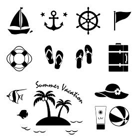 夏の海と休暇 リゾート アイコンセット
