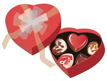 バレンタインチョコとハート型の赤い箱